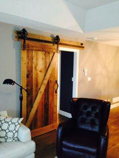 Our Antique Hemlock Z Pattern With Custom 6 Inch Spoke Powder Coated Barn Door Hardware Looks Rich