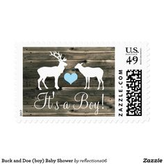 Buck and Doe (boy) Baby Shower Postage