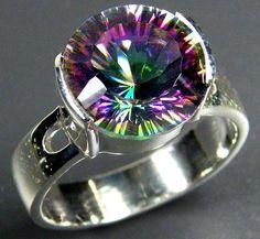 RAINBOW MYSTIC GEMSTONE SILVER RING SIZE 12.5 GTJA699  mystic quartz  gemstone ring , gemstone ring , ring size , silver gemstone ring
