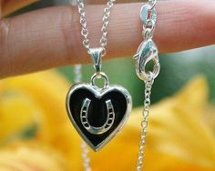 Charm Necklace - .925 Sterling Silver Chain - Horseshoe Heart Pendant - Pony Equine Lover Gift