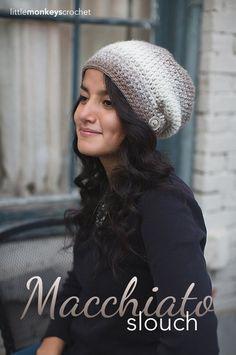 Macchiato Slouch Crochet Hat Pattern made with Lion Brand Scarfie Yarn  |  Free Slouchy Hat Crochet Pattern by Little Monkeys Crochet