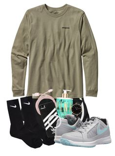 """We have severe thunderstorms today!⛈☔️"" by maris3456 ❤ liked on Polyvore featuring NIKE, Patagonia, Victoria's Secret, Belkin, CLUSE, adidas, Everest, Pink, nike and thunderstorms"