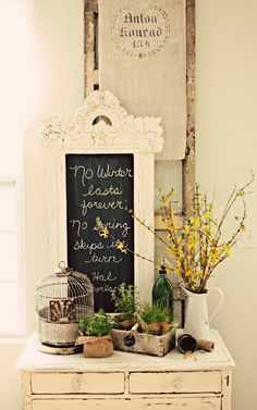 Sharon Well's board with lots of great pins showing how to upcycle items  Lovely chalkboard in ornate white painted frame, vignette