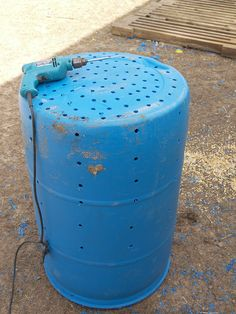 "Step four- make dry well out of 50 gallon barrel using 1/2"" bit to make holes in bottom and sides."