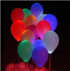 Glowing Neon Balloons. Put a Glow stick in a balloon before you blow it up. Perfect for night | http://summerpartyideas931.blogspot.com