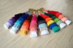 Tassel keychain Tassel bag charm Pom pom key chain Pink tassel purse charm Blue Green Red Rainbow color fringe handbag charm Tassel clip Colorful fringe bag charm / keychain made of high quality handcrafted 100% cotton tassels. Available in 8 different colors: purple, blue,