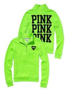 Lime Green Victoria Secret half zip pullover
