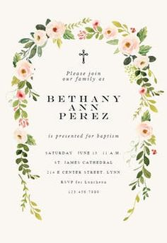Soft Floral - Baptism & Christening Invitation Template | Greetings Island Bowling Party Invitations, Anniversary Party Invitations, Christening Invitations, Engagement Party Invitations, Bridal Shower Invitations, Anniversary Parties, Housewarming Invitation Templates, Wedding Invitation Templates, Printable Invitation Templates