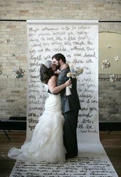 2013 wedding trend - Unique backdrops. This one is written vows!