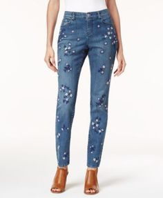 Style & Co Embroidered Curvy Skinny Jeans, Created for Macy's | macys.com