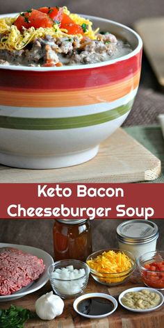 BACON CHEESEBURGER SOUP  4 cups beef stock 1 medium tomato, diced (or a 14.5 ounce can diced tomatoes) 1/4 cup chopped dill pickles 2 tablespoons Dijon Mustard 2 tablespoons Worcestershire sauce 2 tablespoons chopped fresh flat-leaf parsley 1 teaspoon sea salt, more to taste ½ teaspoon black pepper 1 ½ pounds ground beef 1 small onion, diced 4 cloves garlic, minced 1 1/2 cups shredded sharp cheddar cheese 1 cup heavy cream 8 slices bacon, cooked crisp and crumbled