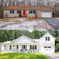 A ranch style home makeover from run down to Farmhouse chic! home renovation Our New House - Seeking Lavendar Lane Home Exterior Makeover, Exterior Remodel, Farmhouse Homes, Farmhouse Chic, White Farmhouse, Farmhouse Renovation, Industrial Farmhouse, Texas Farmhouse, Farmhouse Remodel