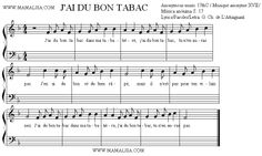 Sheet Music of J'ai du bon tabac - French Children's Songs - France - Mama Lisa's World: Children's Songs and Rhymes from Around the World ... Saint-Saens quotes this folksong in Fossils ... Carnival of the Animals