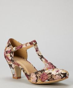Look what I found on #zulily! Rose Pink Floral Mina T-Strap Pump by Chase & Chloe #zulilyfinds