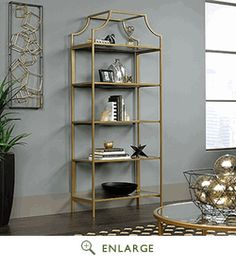 International Lux Bookcase in Satin Gold - Sauder 421434