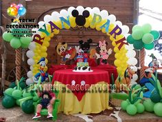Mickey Farmer / Mickey Clubhouse party decorations / Balloon decorations / Personalized balloon arch / party ideas from Extreme Decorations Miami Ph: 786-663-8198 extremedecorations.com