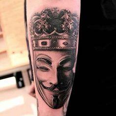 Vendetta-Tattoo-009-Kasper-Husballe V For Vendetta Tattoo, Tattoo Spirit, Home Tattoo, Body Art Tattoos, Badass, Tattoo Ideas, Design, Tattoos, Tatoo