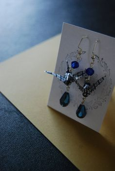 Origami Crane Earring by Licca on Etsy Crane, Origami, Drop Earrings, Etsy, Jewelry, Jewellery Making, Jewelery, Drop Earring, Jewlery