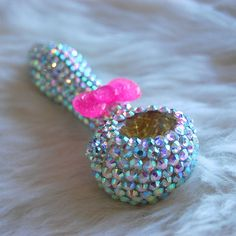 AB Rhinestone with Pink Sparkly Bow Tie Glass by glamglassboutique