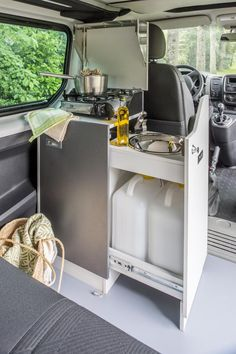 Kitchen Module For VW With Spirit Cooker Camping Hacks Camper muzzikum info Vw T5, Vw T3 Camper, Vw Caravan, Mini Camper, Camper Trailers, Sprinter Camper, Caravan Hacks, Caravan Ideas, Van Conversion Interior