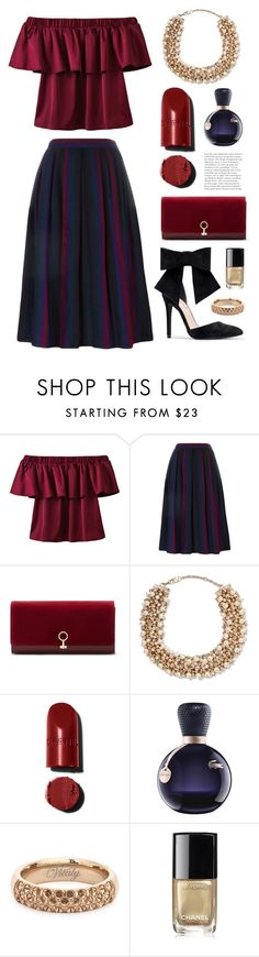 """""""Deep red"""" by miee0105 ❤ liked on Polyvore featuring Yves Saint Laurent, Chloé, Louise et Cie, Valentino, Lacoste, Vitaly and Chanel"""