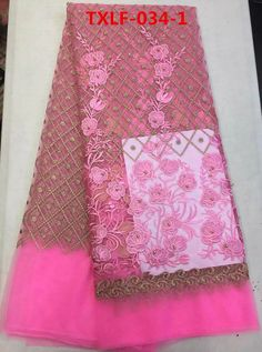 (5yards/pcs) 2017 african wedding lace trend tulle lace fabric in pink with checks&flowers embroidery&rhainstones  Jan-10-2016