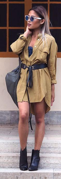 Giggles And Dimples Black Booties Blue Slip Dress Tan Shirt Dress Fall Inspo