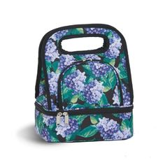 #HYDRANGEA SAVORY #LUNCHTOTE  - $19.99 - Fully #insulated fashionable two compartment lunch #tote. Lower insulated section includes food storage container. Perfect for fruit, salads, sandwiches, snacks, & more!  #summer #beach #beachtote