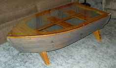 Handcrafted glass top w/etched bass fish wooden boat Coffee Table cabin/cottage