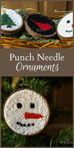 Punch Ornaments with Mini Embroidery Hoops For a Casual Look. : These punch ornaments are a great way to get started with punch needlework using a basic holiday image that you can hang right on the tree. Diy Christmas Ornaments, Handmade Christmas, Holiday Crafts, Christmas Decorations, Xmas, Christmas Punch, Christmas Ideas, Hook Punch, Punch Needle Patterns