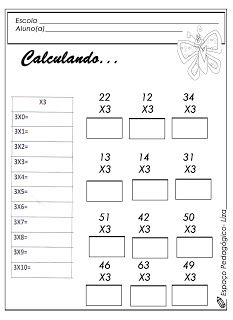 ESCOLA DOMINICAL INFANTIL: Atividades com a tabuada da multiplicação!