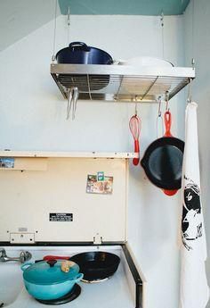 A hanging pots & pans shelf