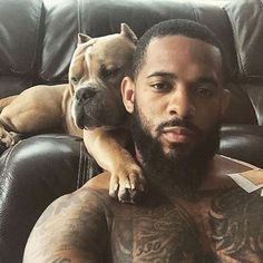 I don't know who dude is but, I'm here for him and his cute dog except for those ears : ( Black Man, Fine Black Men, Gorgeous Black Men, Hot Black Guys, Handsome Black Men, Fine Men, Beard Game, Ange Demon, Hommes Sexy