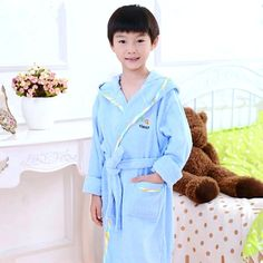 boys bathrobe kids hooded poncho towel pink bathrobe for girls roupao blue  bath robe green loose cotton pajamas baby bath robes 367772f14