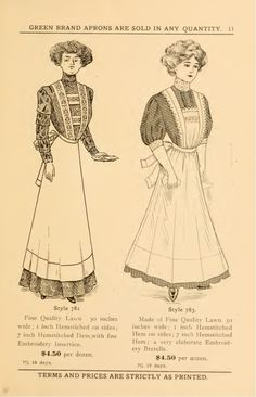 Edwardian Costumes, Edwardian Clothing, Edwardian Dress, Edwardian Fashion, 1918 Fashion, Edwardian Era, Vintage Fashion, Victorian Aprons, Victorian Maid