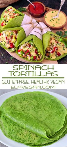 Homemade spinach tortillas with 3 ingredients only (water and salt not counted). This recipe is healthy, gluten-free, vegan, and easy … What Is Healthy Food, Healthy Foods To Make, Good Healthy Recipes, Whole Food Recipes, Vegan Recipes, Healthy Wraps, Drink Recipes, Spinach Health Benefits, Tacos And Burritos