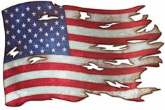 USA Tattered American Flag, Metal Sign Plasma Custom Cutout American Made, 2 Sizes, Vintage Style Retro Patriotic Wall Decor Art PS by HomeDecorGarageArt on Etsy American Flag Drawing, American Flag Art, American Flag Tattoos, American Soldiers, American Pride, Vintage Metal Signs, Garage Art, Custom Metal, My Guy