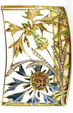 An 18 carat gold French plique-a-jour enamel Art Nouveau choker, by Gaillard