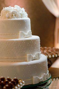 bolo clássico laços rosas pérolas casamento wedding cake classic tradicional