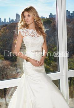 Two+Shoulder+Empire+Satin+Wedding+Dress