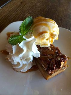 Orange #Bourbon Glazed Pecan Bar with Vanilla Ice Cream -- the perfect #southernstyle #dessert Gus's BBQ. South Pasadena, CA. Concept by Bicos Hospitality.