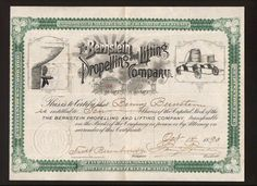 Bernstein Propelling And Lifting Co  --  1893  Fantastic Navigation Stock - Only one i have ever seen  $695  New Jersey .jpg