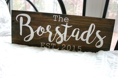 Family Name Wooden Sign {Established} by VelleDesigns on Etsy