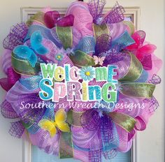 Welcome Spring Butterfly Deco Mesh Wreath. $95.00, via Etsy.