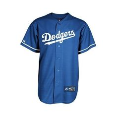 Los Angeles Dodgers Majestic MLB Youth Alternate Replica Jersey (Blue) (£32) ❤ liked on Polyvore featuring tops, shirts and jersey
