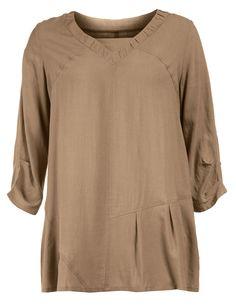 Weite Tunika mit Leinenanteil von Isolde Roth in Olive-Grün. Designer Tuniken bei navabi