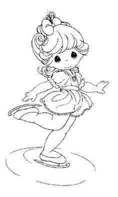 Skater on ice precious moments coloring pages Coloring Pages To Print, Free Printable Coloring Pages, Coloring Book Pages, Coloring Pages For Kids, Precious Moments Coloring Pages, Digi Stamps, Copics, Colorful Pictures, Cross Stitching