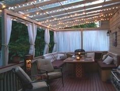 I need to own this porch I know right where to put it!! Add a room cheaply.... Use clear or white plastic (cut to fit) shower curtain liners inside lattice to foil the Texas winds (maybe)... Love the arrangements of the lights. #outdoorfitnesspictures #FitnessPictures