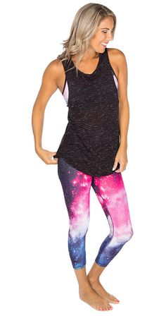 Get the Look! Galaxy Bra and Out of This Galaxy Crops. #galaxy #galaxyprint #crops #leggings #bra #activewear #racerback #silvericing #exclusives #getthelook #ootd #yoga