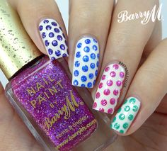 Party Polka Dots (and tutorial) ~  base polish Barry M Gelly 'Coconut' with five Barry M Glitterati polishes and matching Gelly polishes for dots ~ by Brit Nails